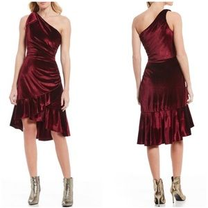 Chelsea & Violet velvet one shoulder dress